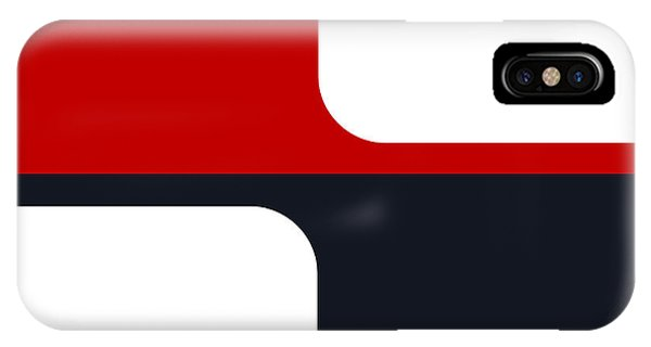 Trendy White Red And Navy Graphic Color Blocks Phone Case by Tracie Kaska