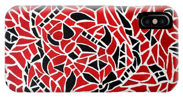 iPhone Case - Tribal On Canvas - Black And Red by Michael Rados