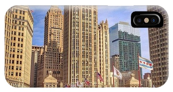 Cities iPhone Case - Tribune Tower And Dusable Bridge In by Paul Velgos