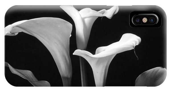 Trio Of White Calla Lilies In Black And White IPhone Case
