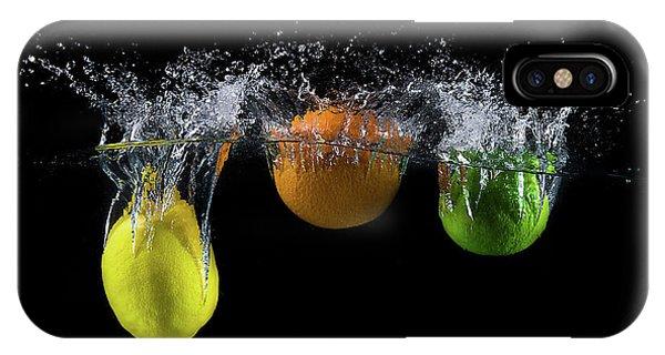 Action iPhone X Case - Triple Citrus Splash by Mogyorosi Stefan