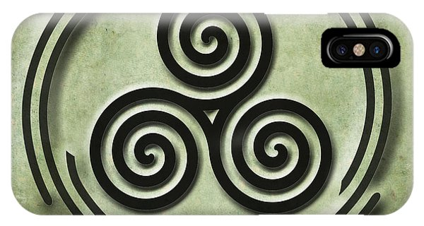 Triple Spiral Black And Green Celtic Art IPhone Case