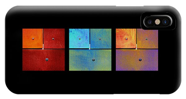 Triptych Red Cyan Purple - Colorful Rust IPhone Case