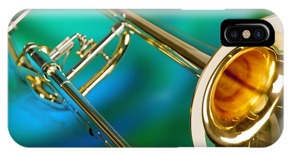 Trombone iPhone X Case - Trombone Against Green And Blue In Color 3204.02 by M K  Miller