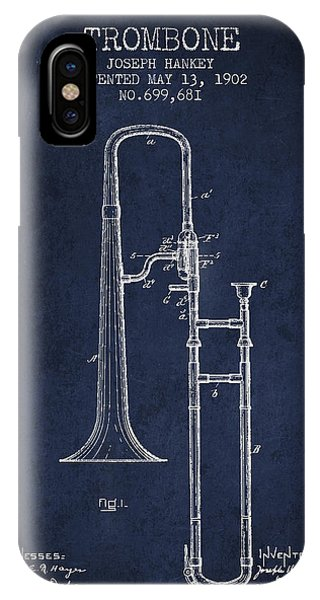 Trombone iPhone Case - Trombone Patent From 1902 - Blue by Aged Pixel