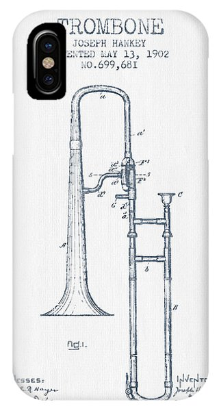 Trombone iPhone X Case - Trombone Patent From 1902 - Blue Ink by Aged Pixel