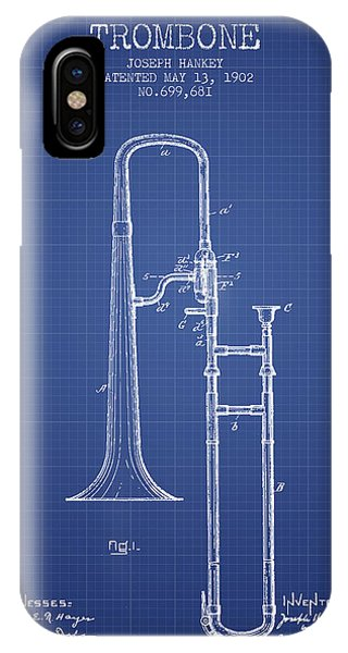 Trombone iPhone Case - Trombone Patent From 1902 - Blueprint by Aged Pixel