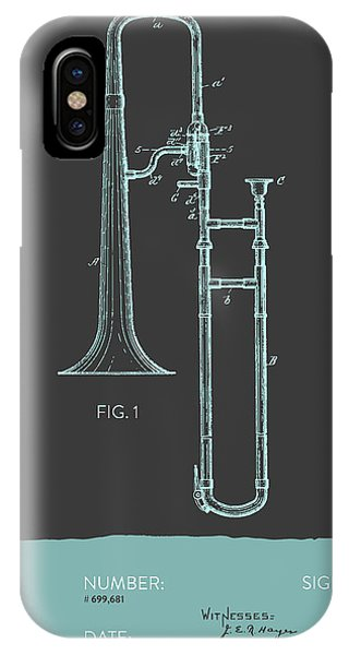 Trombone iPhone Case - Trombone Patent From 1902 - Modern Gray Blue by Aged Pixel