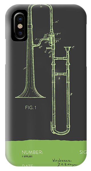 Trombone iPhone Case - Trombone Patent From 1902 - Modern Gray Green by Aged Pixel