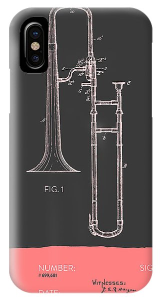Trombone iPhone X Case - Trombone Patent From 1902 - Modern Gray Salmon by Aged Pixel