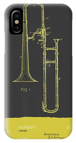 Trombone iPhone Case - Trombone Patent From 1902 - Modern Gray Yellow by Aged Pixel