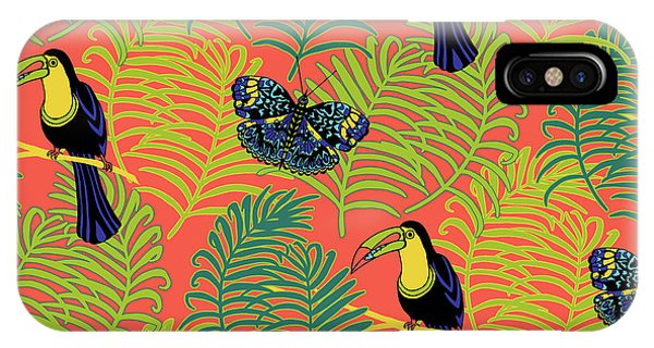 Vector Graphics iPhone Case - Tropcial Vector Collection Toucan And Butterfly by MGL Meiklejohn Graphics Licensing