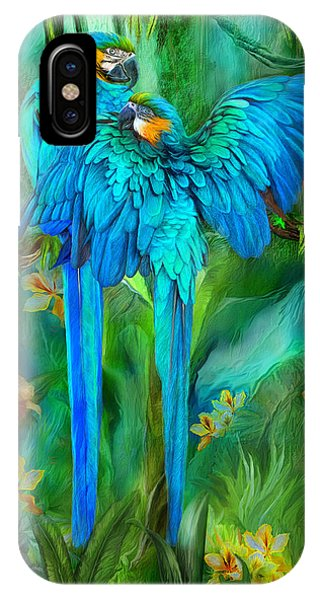 Macaw iPhone Case - Tropic Spirits - Gold And Blue Macaws by Carol Cavalaris
