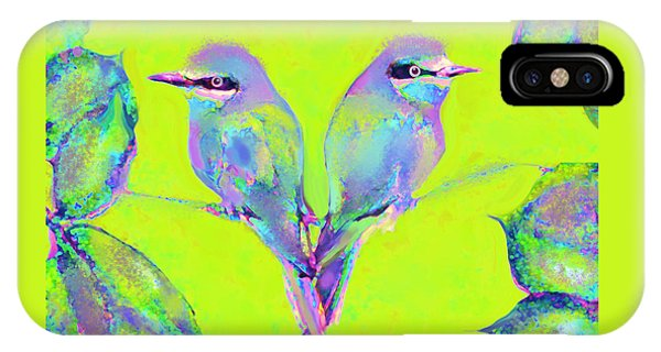 Purple Rain iPhone Case - Tropical Birds Blue And Chartreuse by Jane Schnetlage