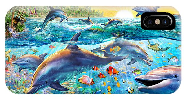 Reef iPhone Case - Tropical Dolphins by MGL Meiklejohn Graphics Licensing