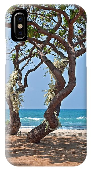 Tropical Heliotrope Trees With White Orchids On Beach IPhone Case