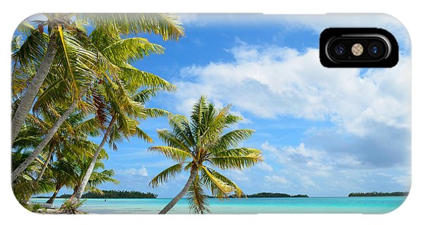 Tropical Beach With Hanging Palm Trees In The Pacific IPhone Case