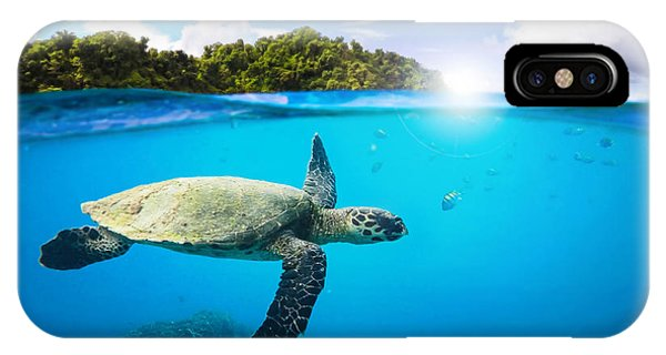 Turtle iPhone X Case - Tropical Paradise by Nicklas Gustafsson