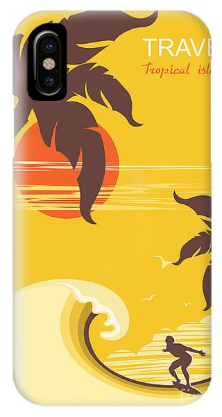 Vector iPhone Case - Tropical Paradise With Palms Island And by Tancha