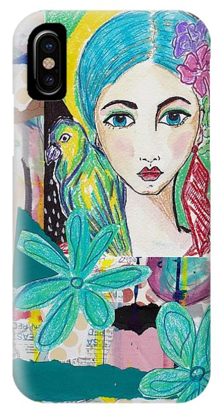 Tropical Parrot Girl IPhone Case