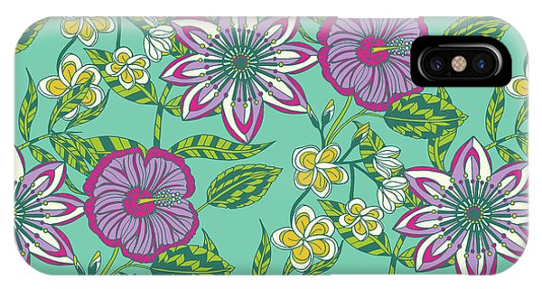 Vector Graphics iPhone Case - Tropical Vector Collection Hibiscus And Frangipani Floral by MGL Meiklejohn Graphics Licensing