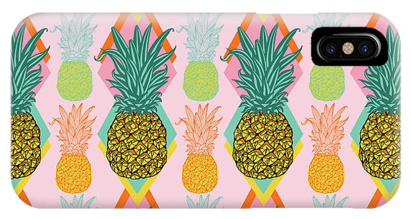 Vector Graphics iPhone Case - Tropical Vector Pineapple Retro by MGL Meiklejohn Graphics Licensing