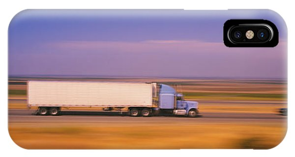 Trucking iPhone Case - Truck And A Car Moving On A Highway by Panoramic Images