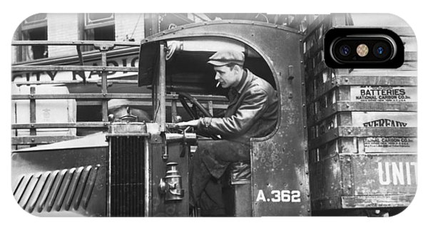 Trucking iPhone Case - Truck Driver In His Cab by Underwood Archives