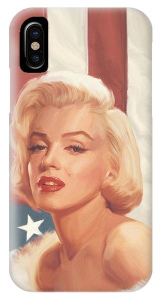 Actor iPhone Case - True Blue Marilyn In Flag by Chris Consani