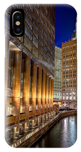 Trump Wrigley Chicago River Blue Hour Phone Case by Michael  Bennett