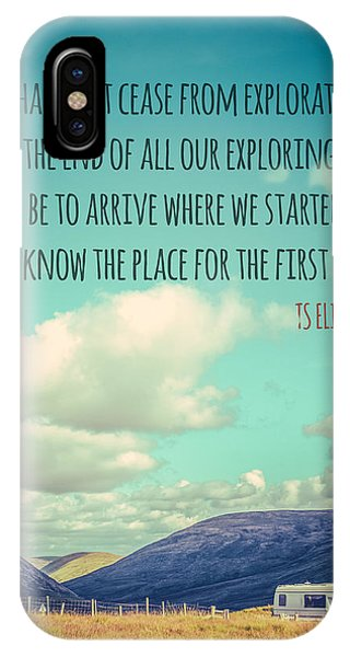 Caravan iPhone Case - Ts Eliot Travel Quote Poster by Mr Doomits