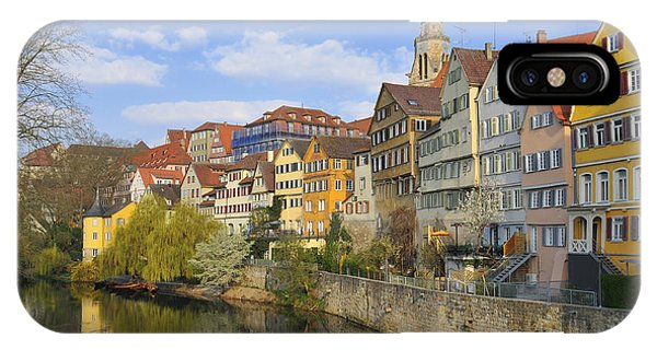 Tuebingen Neckarfront With Beautiful Old Houses IPhone Case