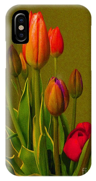 Tulips Against Green IPhone Case