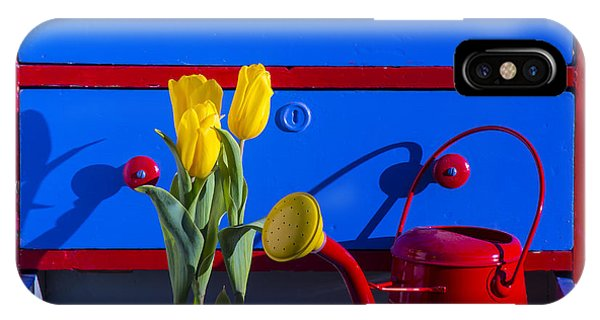 Tulips And Watering Can  IPhone Case