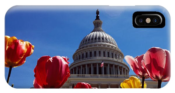 Capitol Building iPhone Case - Tulips With A Government Building by Panoramic Images
