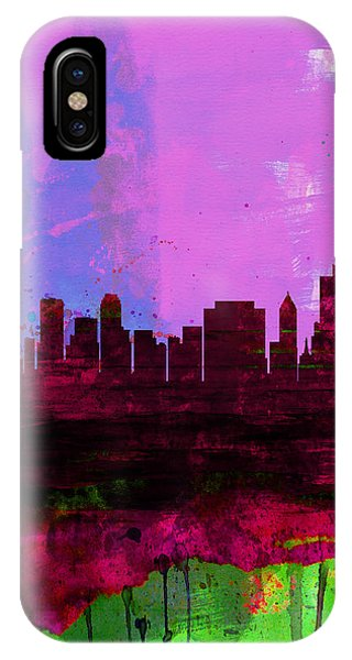 Oklahoma iPhone Case - Tulsa Watercolor Skyline 2 by Naxart Studio