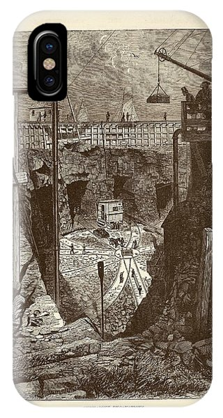 1877 iPhone Case - Tunnel Construction by Art And Picture Collection/new York Public Library