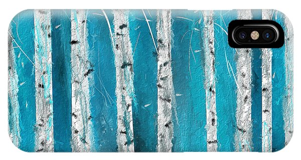 Turquoise Birch Trees II- Turquoise Art IPhone Case