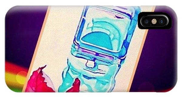 Watercolor iPhone Case - Turquoise Candle And Red Orange Leaf - Digital Artwork From Original Watercolor Painting by Anna Porter