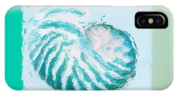 Laguna Beach iPhone Case - Turquoise Seashells Xii by Lourry Legarde