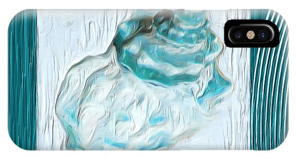Shell Texture iPhone Case - Turquoise Seashells Xxiv by Lourry Legarde