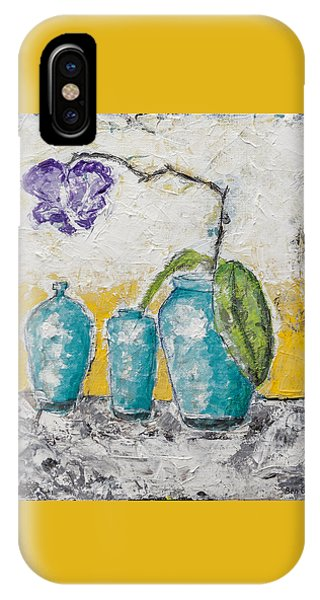 IPhone Case featuring the painting Turquoise Vases And Purple Orchid Still Life by Ben Gertsberg