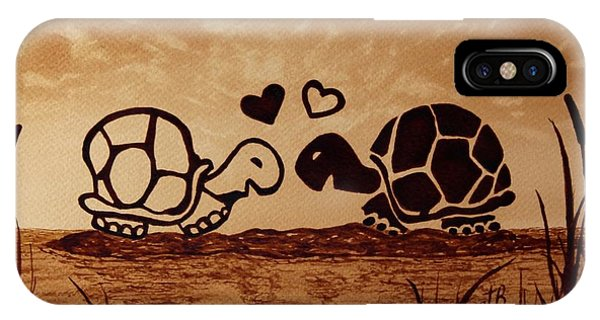Turtles Love Coffee Painting IPhone Case