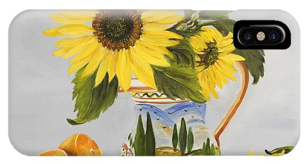 Tuscan Pitcher And Sunflowers IPhone Case