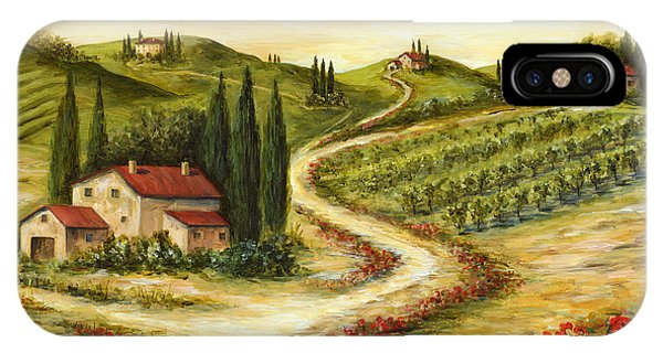 Poppies iPhone Case - Tuscan Road With Poppies by Marilyn Dunlap