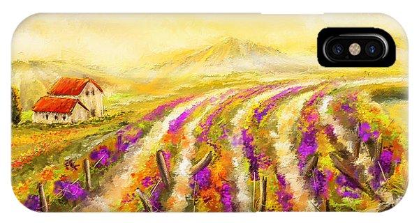 Tuscan Vineyard Sunset - Vineyard Impressionist Paintings IPhone Case