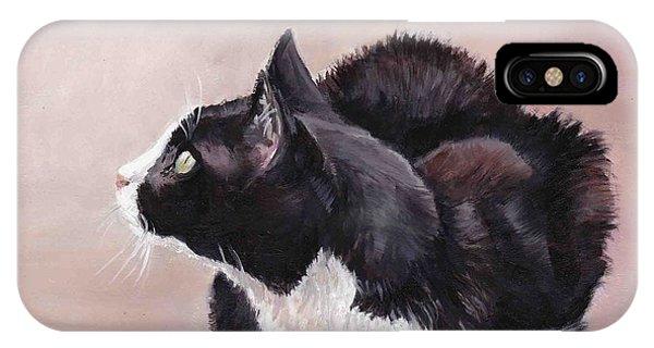 Tuxedo Cat Bird Watcher Phone Case by Charlotte Yealey