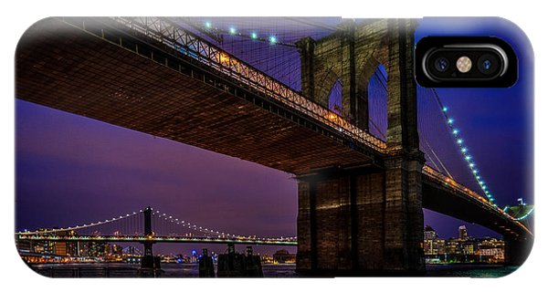 IPhone Case featuring the photograph Twilight At The Brooklyn Bridge by Chris Lord