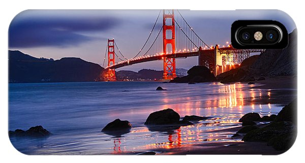 Golden iPhone Case - Twilight - Beautiful Sunset View Of The Golden Gate Bridge From Marshalls Beach. by Jamie Pham