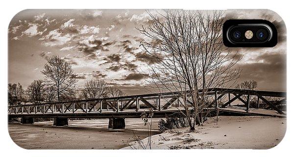 Twilight Bridge Over An Icy Pond - Bw IPhone Case